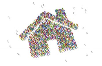 Human Crowd Forming A House Symbol: Bonding And Social Media Concept